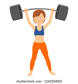Young happy woman lifting heavy barbell isolated on white background