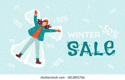 Young happy woman makes a snow angel. Winter sale and discount lettering. Concept template for banner, poster, advertising New Year, Christmas, seasonal sales. Bright cartoon vector illustration