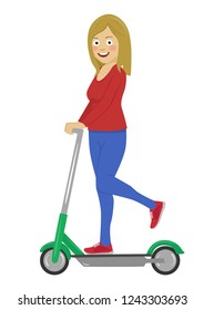 Young happy woman riding her electric scooter isolated on white background