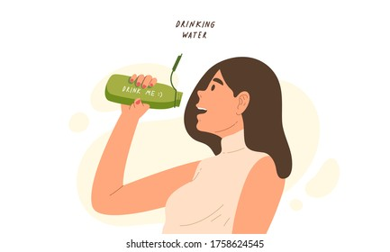 Young healthy woman drink water from her personal bottle to stay hydrated. Concept of good health, Eco friendly, hydrated skin, body balance, office lady. Flat vector illustration character.