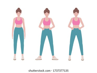 Young healthy woman in sportswear standing isolated on white background. Illustration about prepare posture of Sport people before fitness.