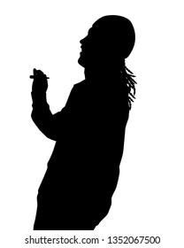 Young hippie smokes marijuana silhouette vector