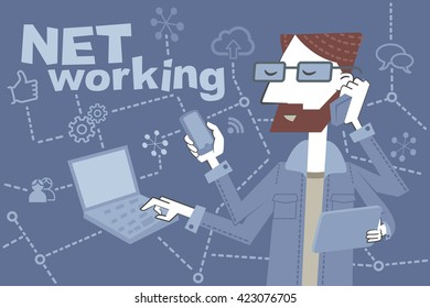 Young hipster busy. Retro style illustration of a man working with several mobile devices simultaneously. EPS10 file.