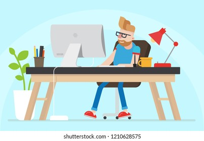 Young Hipster Freelancer Graphic Designer Coder Working. Room, Desk, Table, Computer, Lamp, Mug. Comfort Zone. Flat Vector Character Illustration.
