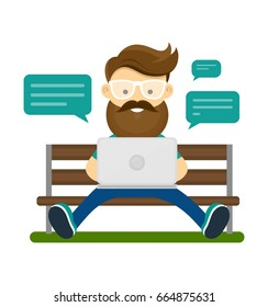 Young hipster man with beard and glasses sitting on the bench with laptop computer and use wifi internet for chat with friends. Vector modern style flat cartoon character illustration design icon