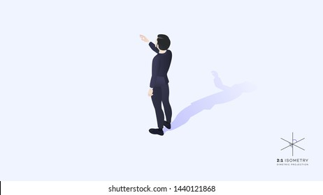 Young hipster man dressed in a business suit, hand pointing forward and upward. High detailed vector isometric illustration with solo businessman.