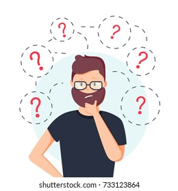 Young hipster man thinking standing under question marks. Vector flat cartoon illustration character icon. man surrounded by question marks concept. Men think