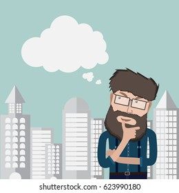 Young hipster Man thinking of thought bubble on city Background.