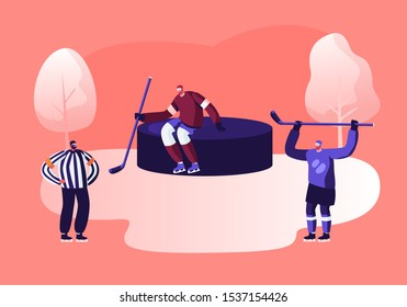 Young Hockey Player Characters in Team Uniform Holding Sticks Standing at Huge Puck, Referee Judging Game. Sportsmen at Competition League Tournament. Sport Life Cartoon Flat Vector Illustration