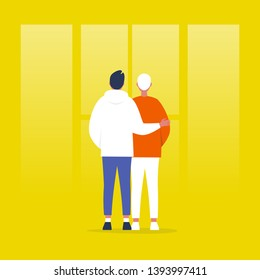 Young homosexual couple standing in front of the window. Relationships. Hugging partners. Love. Flat editable vector illustration, clip art
