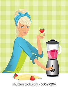 a young housewife prepares a dessert in a blender