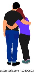 Young hugged couple in love vector. Happy time for lovers. Beautiful back view of hugging people. Boyfriend and girlfriend in hug.
