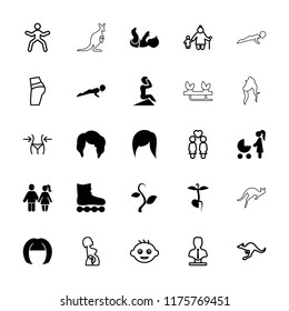 Young icon. collection of 25 young filled and outline icons such as woman hairstyle, woman with baby carriage, sprout, cangaroo, baby. editable young icons for web and mobile.
