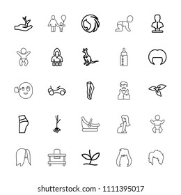 Young icon. collection of 25 young outline icons such as plant, cangaroo, bike, woman hairstyle, casino girl, tights, bust. editable young icons for web and mobile.
