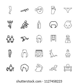 Young icon. collection of 25 young outline icons such as cangaroo, woman hairstyle, tights, couple, old woman and child. editable young icons for web and mobile.