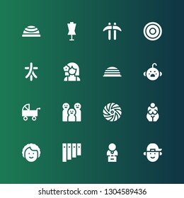 young icon set. Collection of 16 filled young icons included Boy, Bust, Panpipe, Dancer, Goddess, Frisbee, Family, Pushchair, Cry, Bosu ball, Girl, Characters, Kusarigama, Dummy