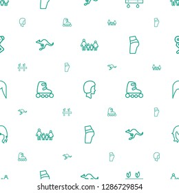 young icons pattern seamless white background. Included editable outline family, face, plant, cangaroo, skate rollers, booty fitness, woman hairstyle icons. young icons for web and mobile.