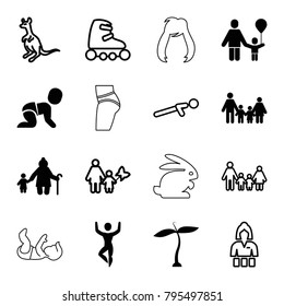 Young icons. set of 16 editable filled and outline young icons such as plant, family, old woman and child, cangaroo, casino girl, push up, skate rollers, man doing exercises