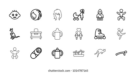 Young icons. set of 18 editable outline young icons: baby, cangaroo, baby bottle, woman hairstyle, casino girl, newborn child, man doing exercises, skate rollers, kangaroo