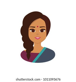 Young Indian business woman wearing traditional Indian costume. Indian  Woman Face Covered with national costume. Vector illustration isolated from white background