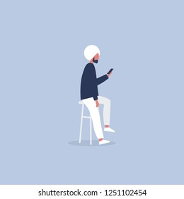 Young indian character sitting on the bar stool and holding a smartphone. Millennial lifestyle. Social media. Flat editable vector illustration, clip art