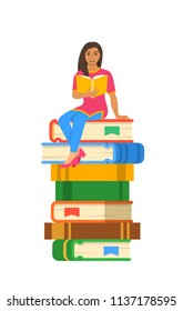 Young Indian girl student reads open book sitting on stack of giant books. High school education concept. Vector cartoon illustration. Exam preparation using paper book. Modern well-educated youth