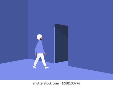 Young indian male character leaving the room, exit