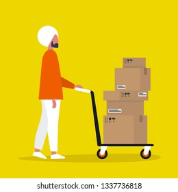 Young indian male courier rolling a pushcart. Cargo. Delivery service. Flat editable vector illustration, clip art