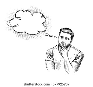 Young Indian Man thinking of thought bubble on white Background, Hand Drawn Sketch Vector illustration.