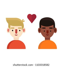 Young interracial couple of gay with a red heart