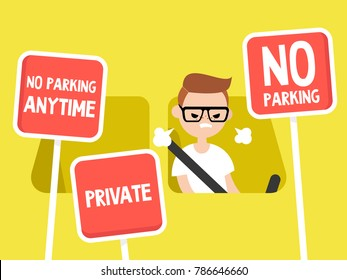 Young irritated character trying to find a place to park his car. Restriction road signs. No parking. Flat editable vector illustration, clip art