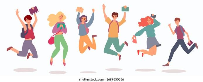 Young joyful people cartoon characters jumping flat vector illustration isolated.