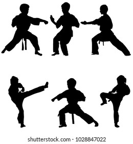 young karate boys silhouettes, hand drawn vector illustration