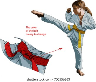 young karate girl in kimono strikes her foot
