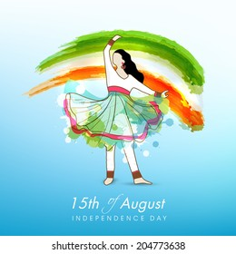 Young kathak dance in dancing pose on national flag colors background for 15th of August, Indian Independence Day celebrations.
