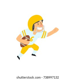 Young kid playing American football. vector illustration isolated on white background.