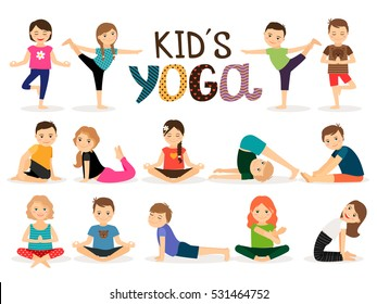 Young kids in different yoga poses on white background. Vector illustration.