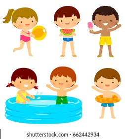 Young kids in swimsuits playing at the beach or at the pool
