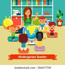 Young kindergarten teacher teaching class of kids geography with earth globe. Kids are sitting on pillows around her. Flat style vector cartoon illustration.