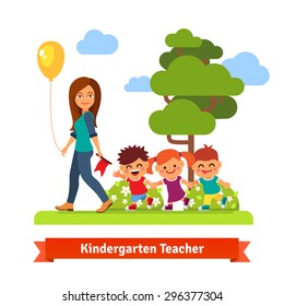 Young kindergarten teacher walking in park with kids holding hands in trail. Flat style vector cartoon illustration.
