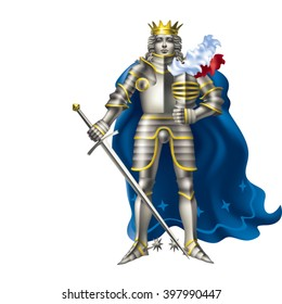 The young king in armor on a white background