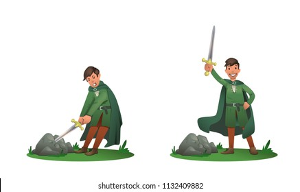Young King Arthur withdrawing Excalibur of the stone and holding it above the head. Set of two postures, cartoon character. Flat vector illustration. Isolated on white background.
