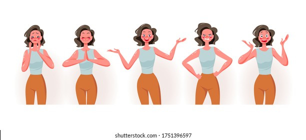 Young lady cartoon character portrait wit different emotions and facial expressions isolated on white background. Sadness, harmony, joy, anger, fear concept. Vector flat illustration.
