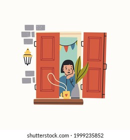 Young lady looking through window and holding a cup with tea or coffee. Wooden shutters, brick wall, lamp, flower pot. Hand drawn colored Vector illustration. Thinking, meditating, stay home concept