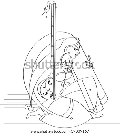 Young Lady Playing Music Stock Vector Royalty Free 19889167