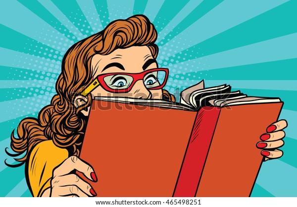 Joven leyendo un libro, arte pop retro ilustración vectorial. Lectura interesante