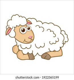 Young Lamb. Cartoon character Lamb isolated on white background. Template of cute farm animal. Education card for kids learning animals. Suitable for decoration and design. Vector in cartoon style