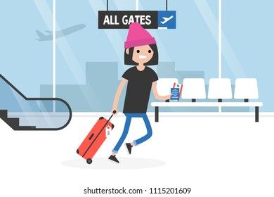 Young late passenger running through the airport terminal, holding the luggage, documents and boarding pass. Travel. Flight. Tourist. Concept. Flat editable vector illustration, clip art