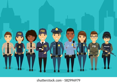 Young law enforcement officials are on the background of the city. Different professions protection of citizens. Professionals in their field. Sheriff, Federal Bureau of Investigation, special forces.