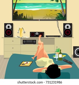 Young lazy woman is lying on the couch and watching a movie on TV. Lazy housewife and mess in the living room. Flat cartoon vector illustration